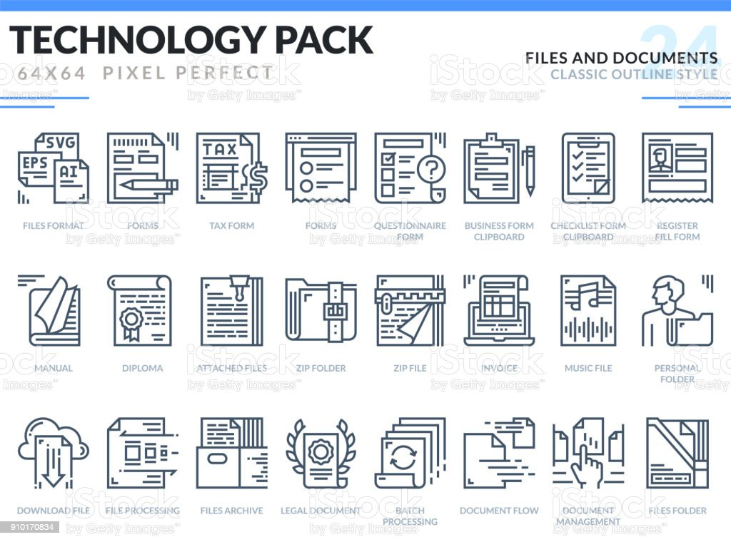 Files and Documents Icons Set. Technology outline icons pack. Pixel perfect thin line vector icons for web design and website application.