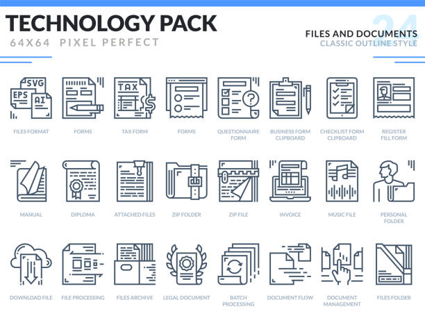 Files and Documents Icons Set. Technology outline icons pack. Pixel perfect thin line vector icons for web design and website application. vector art illustration