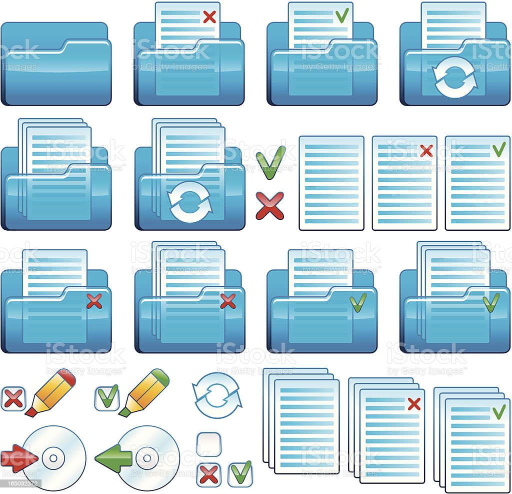 Files and folders icon set (Vector) royalty-free files and folders icon set stock vector art & more images of arranging