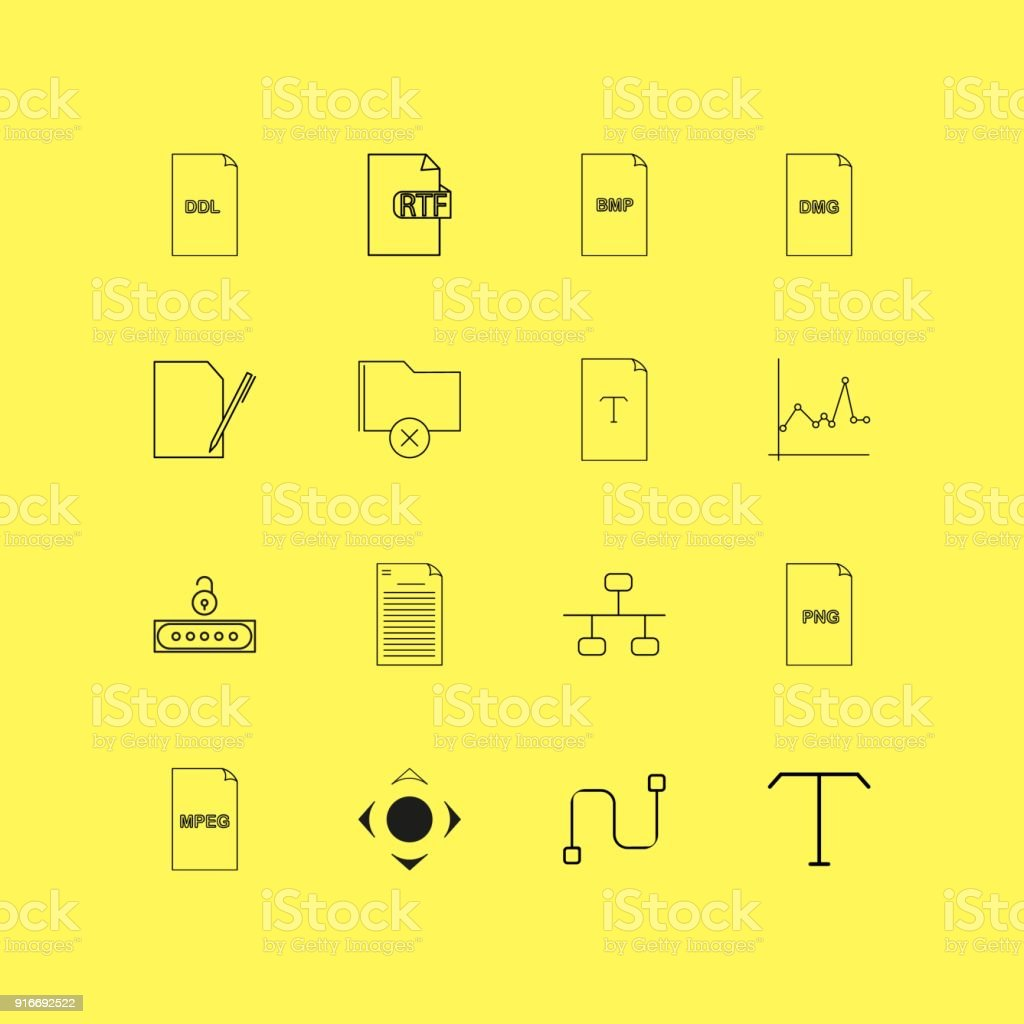 Files And Folders Linear Icon Set Simple Outline Icons Stock