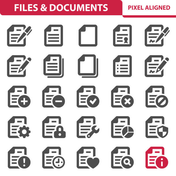 Files & Documents Icons Professional, pixel perfect icons, EPS 10 format. form document stock illustrations