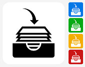 Files Icon. This 100% royalty free vector illustration features the main icon pictured in black inside a white square. The alternative color options in blue, green, yellow and red are on the right of the icon and are arranged in a vertical column.