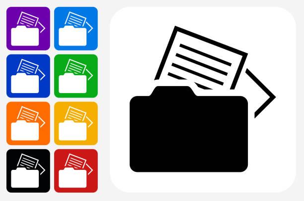 Files Icon Square Button Set vector art illustration