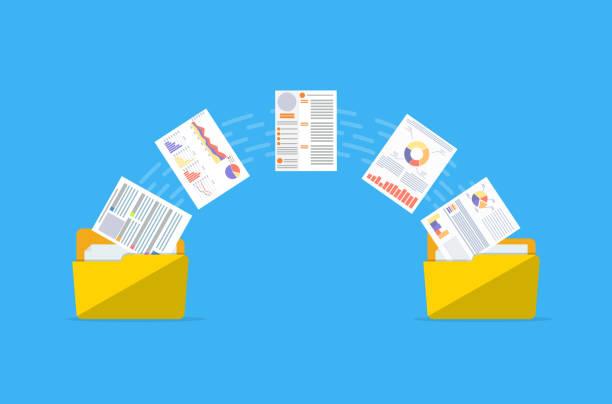 stockillustraties, clipart, cartoons en iconen met bestanden overbrengen. documenten beheer. - versturen