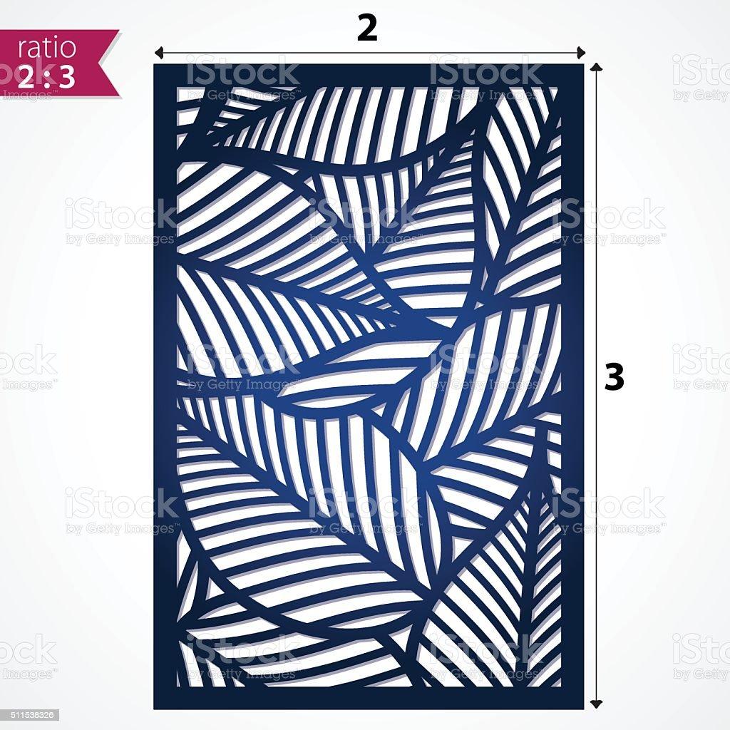 Filigree leaves for paper cutting vector art illustration