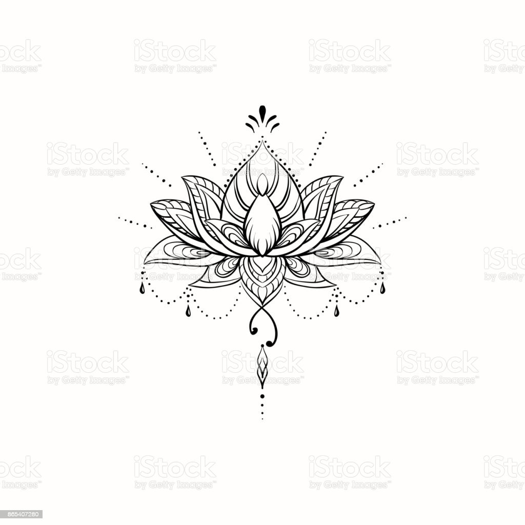 Filigree Lotus Flower Vector Handdrawn Illustration Stock Vector Art