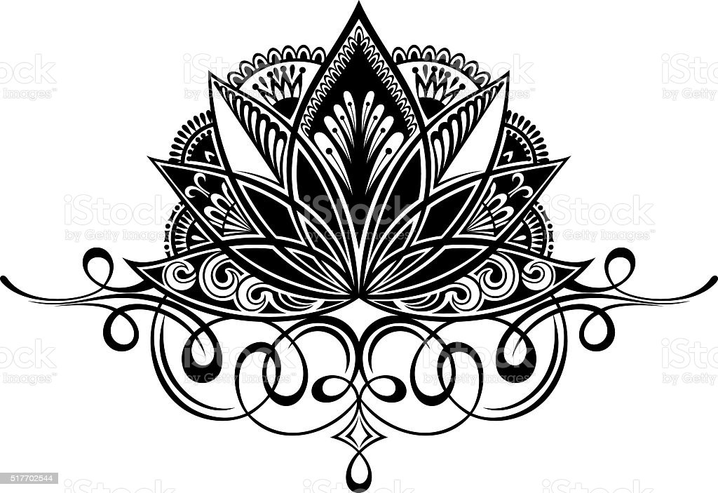 Filigree Lotus Flower Stock Vector Art More Images Of Abstract