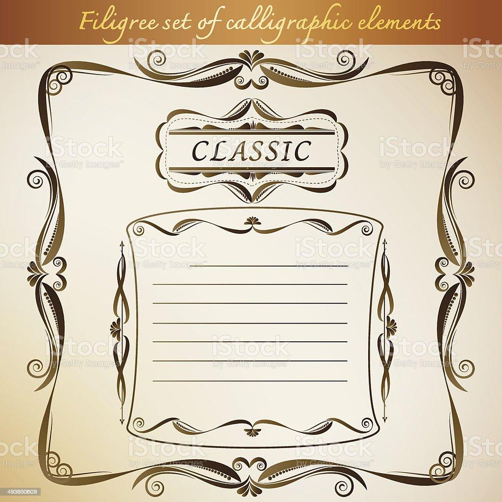 Filigree set of calligraphic elements for frame vintage design. royalty-free filigree set of calligraphic elements for frame vintage design stock vector art & more images of antique