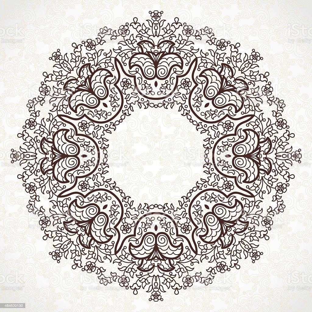 Filigree vector frame in Eastern style. vector art illustration