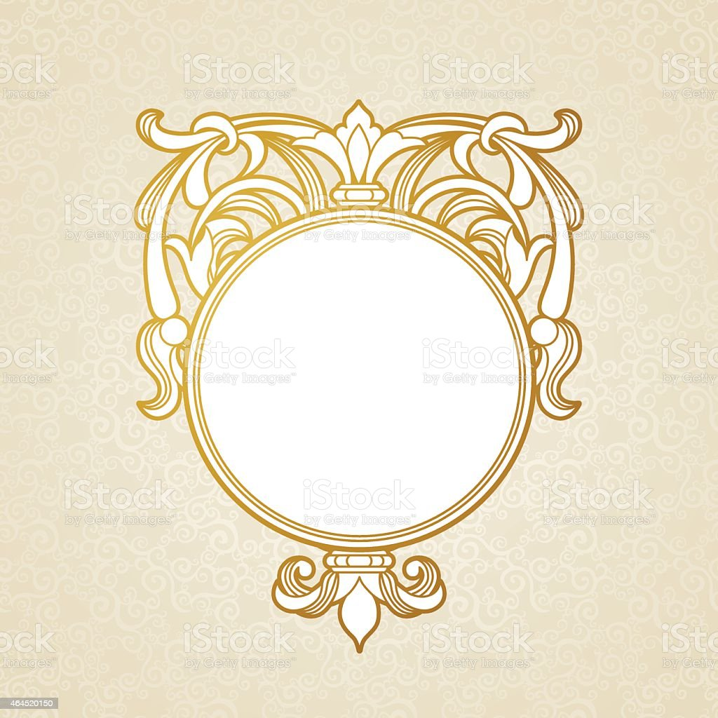 Filigree vector frame in Victorian style. vector art illustration