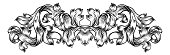 A floral filigree pattern scroll laurel leaf baroque vintage style design motif