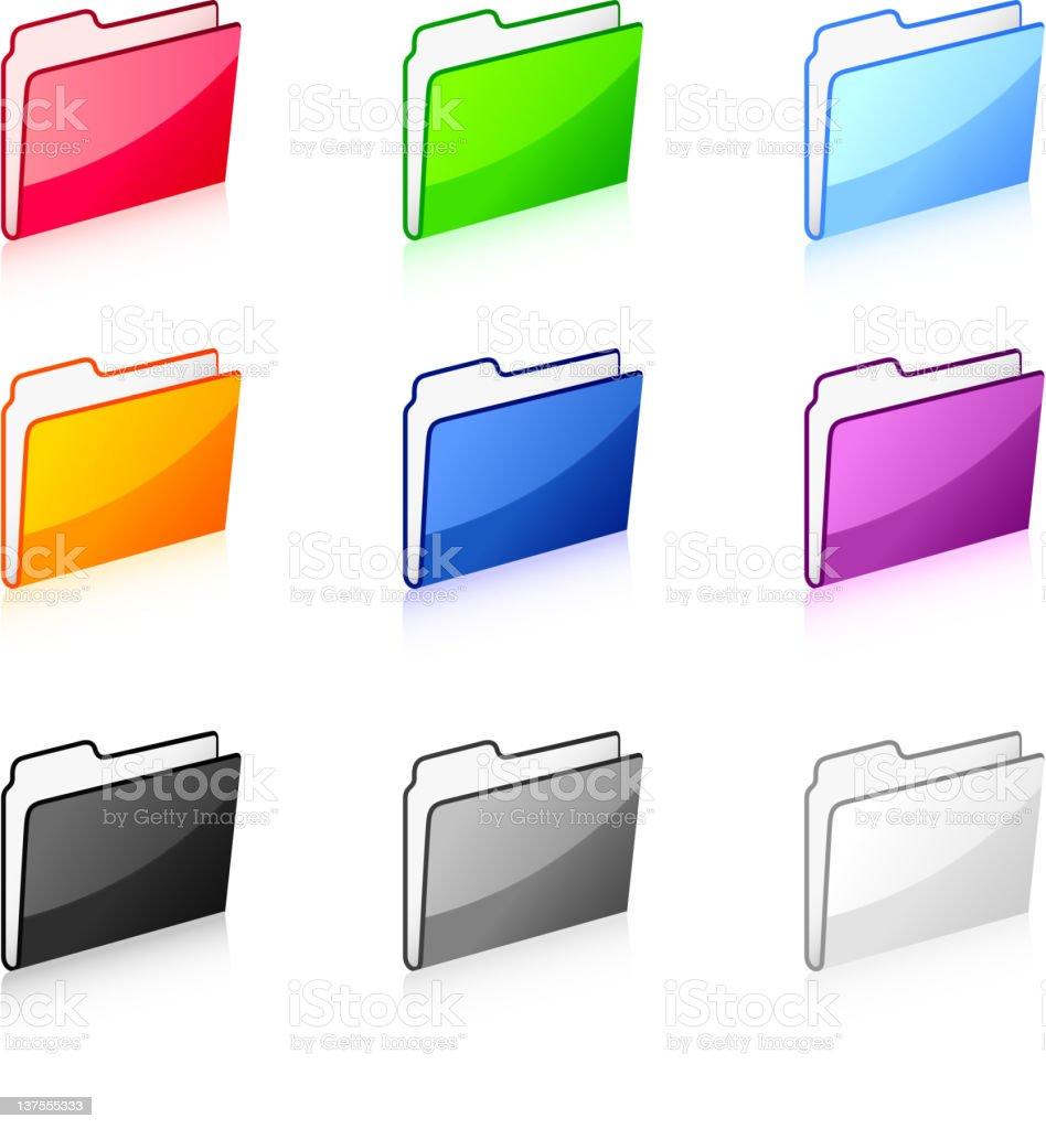 Filing folders in nine colors royalty-free stock vector art