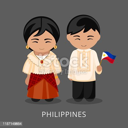 Man and woman in traditional costume. Travel to Philippines. People. Vector flat illustration.