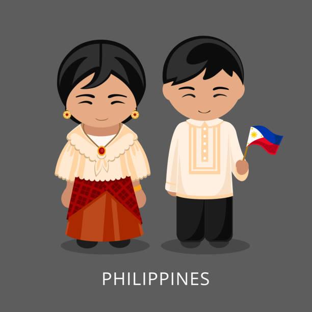 stockillustraties, clipart, cartoons en iconen met filippino's in de nationale jurk met een vlag. - filipijnen