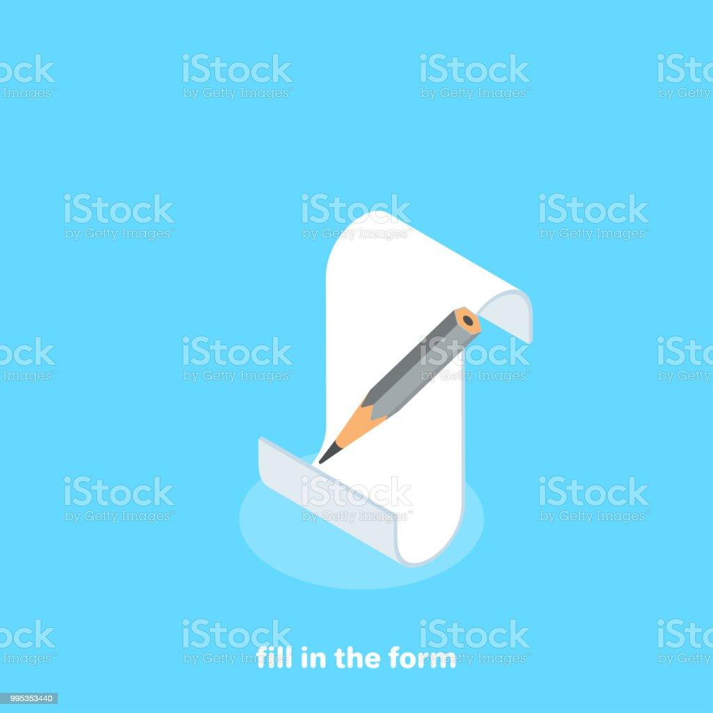 fill in the form vector art illustration