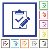Fill out checklist framed flat icons
