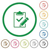 Fill out checklist outlined flat icons