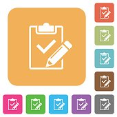 Fill out checklist rounded square flat icons