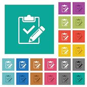 Fill out checklist square flat multi colored icons