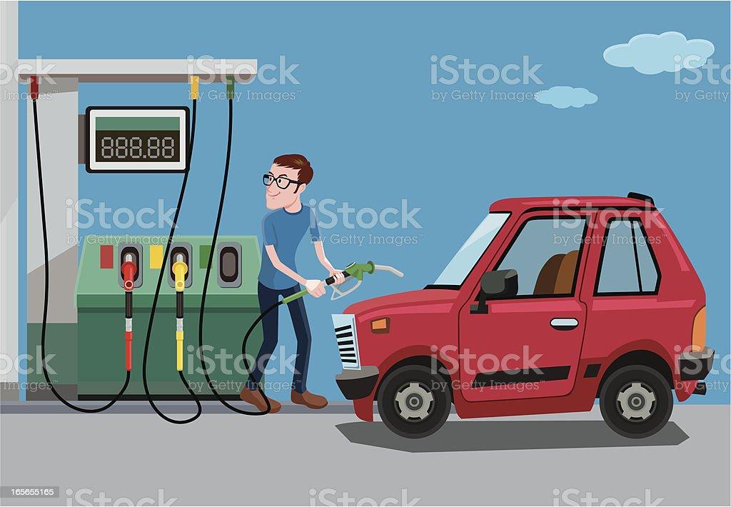 fill up of gasoline vector art illustration
