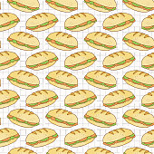 Filled Bread Baguettes Seamless Vector Pattern, Hand Drawn