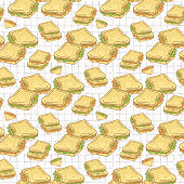 Filled Bread Slices Seamless Vector Pattern, Hand Drawn