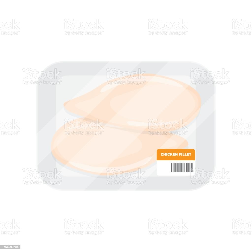 Fillet of chicken in the package vector art illustration