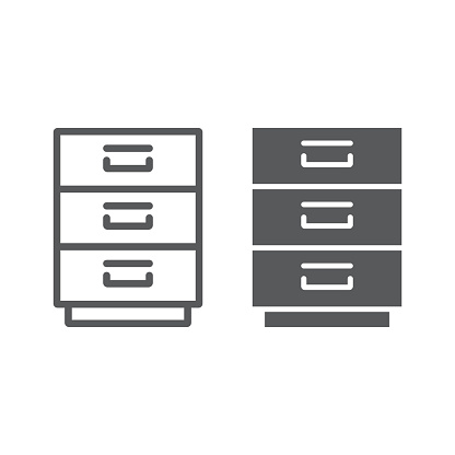 Filling cabinet line and glyph icon, office and organize, file sign, vector graphics, a linear pattern on a white background, eps 10.