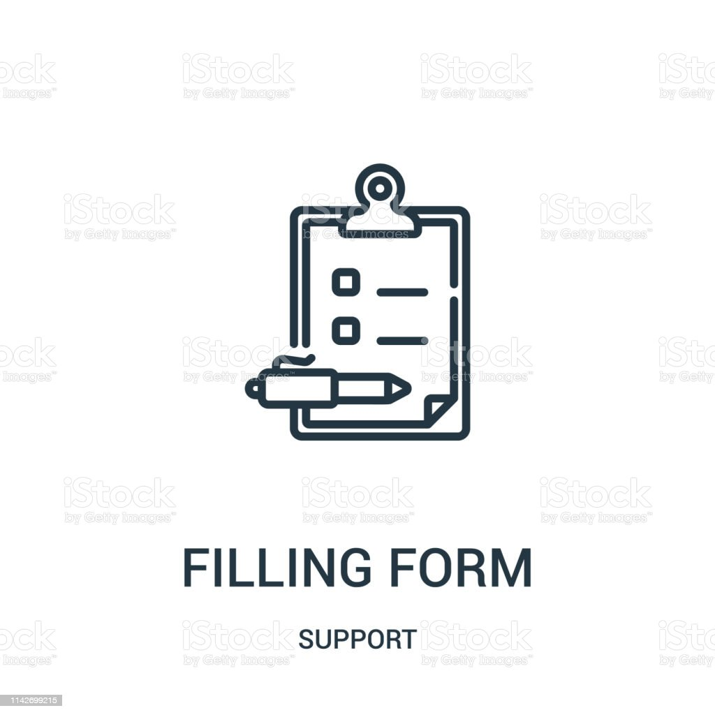 filling form icon vector from support collection. Thin line filling...
