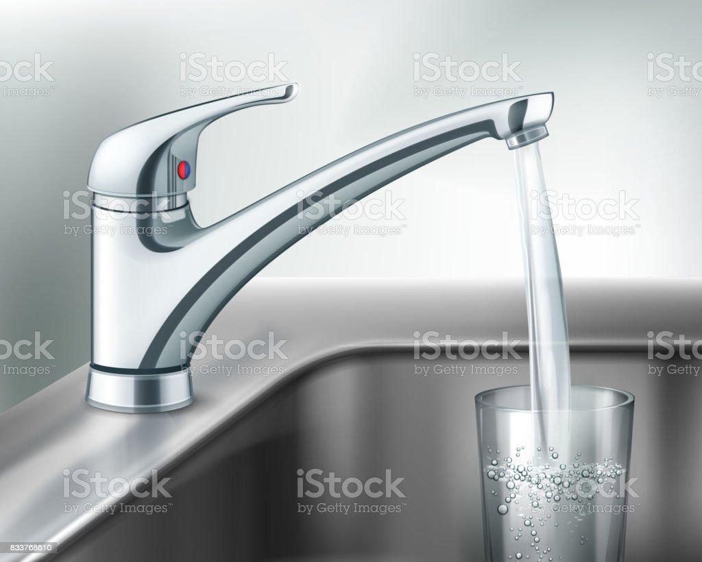 Filling glass of water vector art illustration