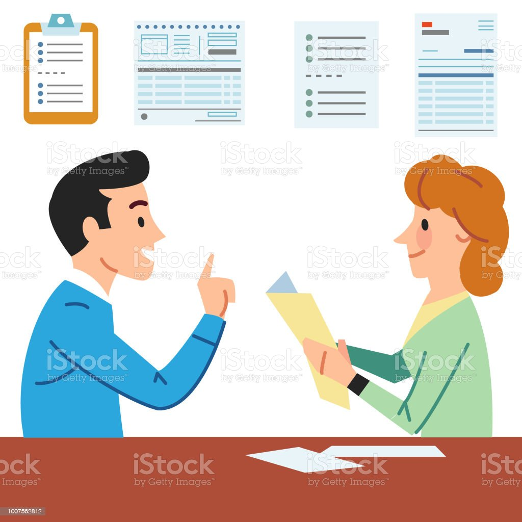Filling in Forms vector art illustration