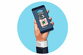 Icon of hands holding a mobile phone and filling in the application form for covid-19 vaccine