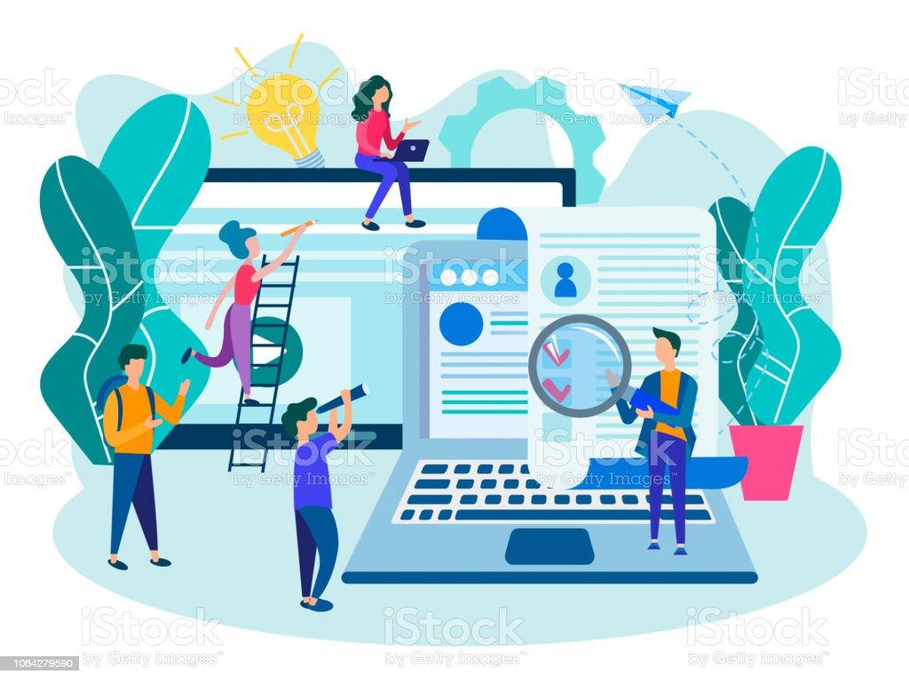 Den Fragebogen Online Ausfüllen Ein Bewerbungsformular Stock Vektor