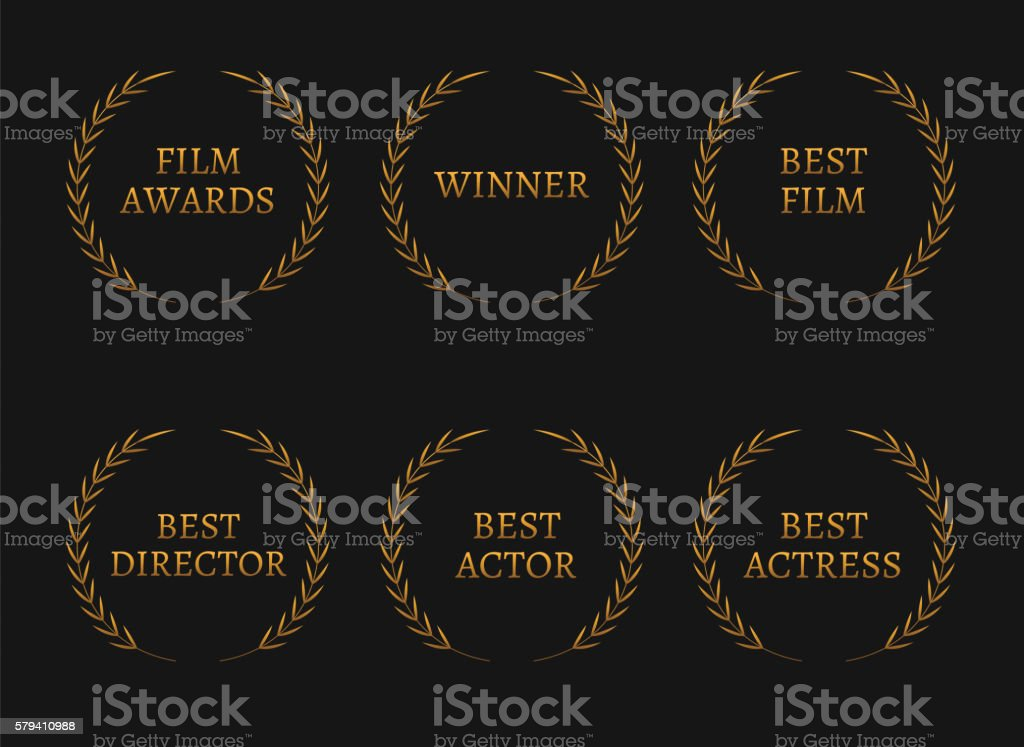 Film Academy Awards Winners And Best Nominee Gold Wreaths Stock