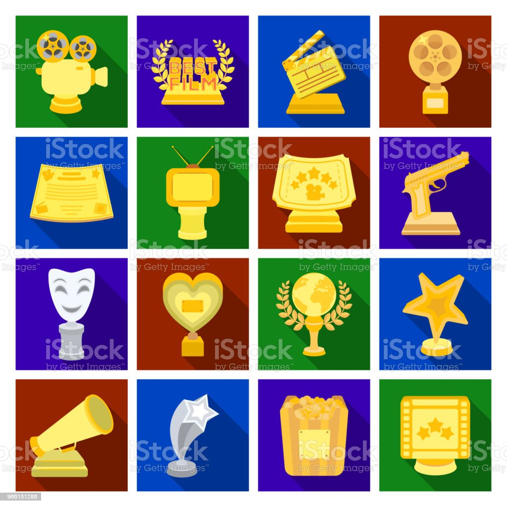 Film awards and prizes flat icons in set collection for design. The World Film Academy vector symbol stock web illustration. - Векторная графика Актёр роялти-фри