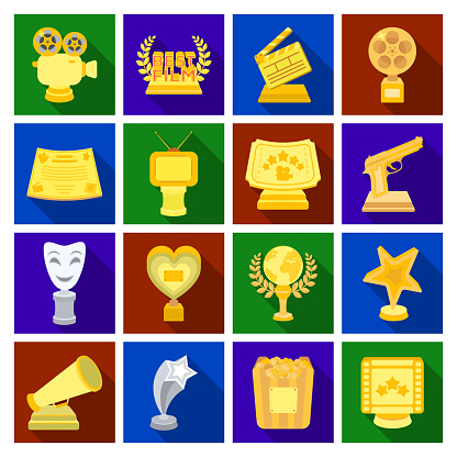 Film Awards And Prizes Flat Icons In Set Collection For Design The World Film Academy Vector Symbol Stock Web Illustration — стоковая векторная графика и другие изображения на тему Актёр