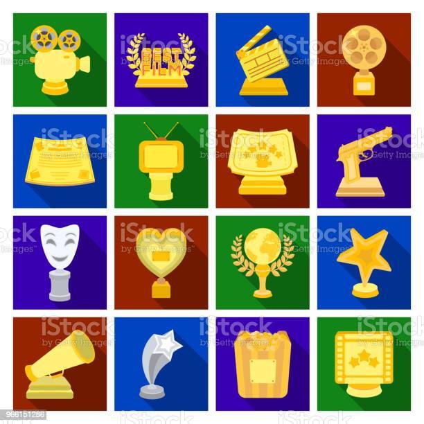 Film Auszeichnungen Und Preise Flache Symbole Im Set Sammlung Für Design Die Welt Filmakademie Symbol Lager Web Vektorgrafik Stock Vektor Art und mehr Bilder von Auszeichnung