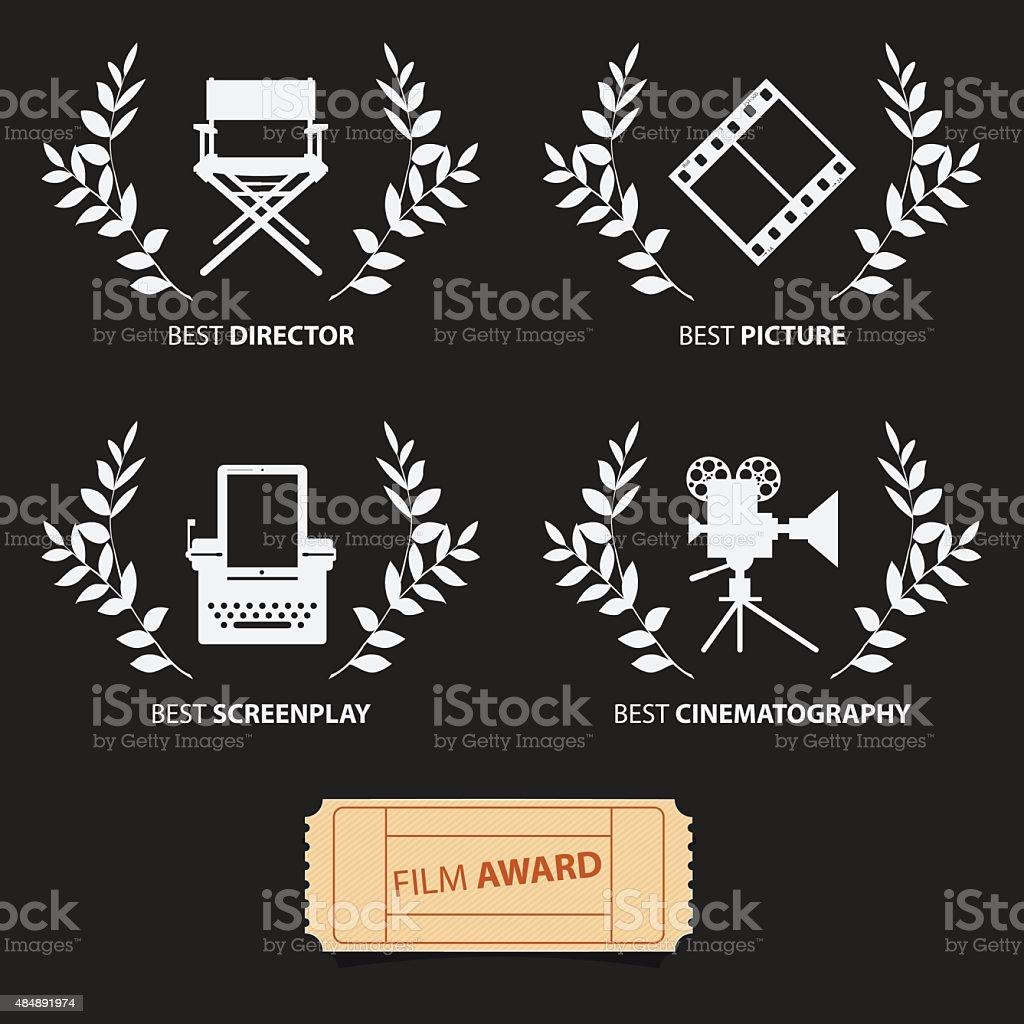 Film awards and wreaths. Vector vector art illustration
