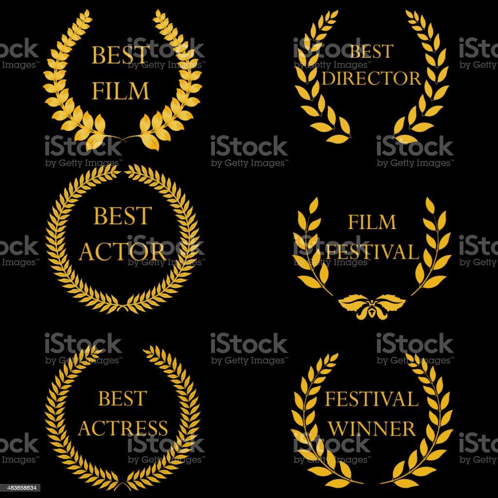 Premios de cine. Golden laurel wreaths redondo - ilustración de arte vectorial