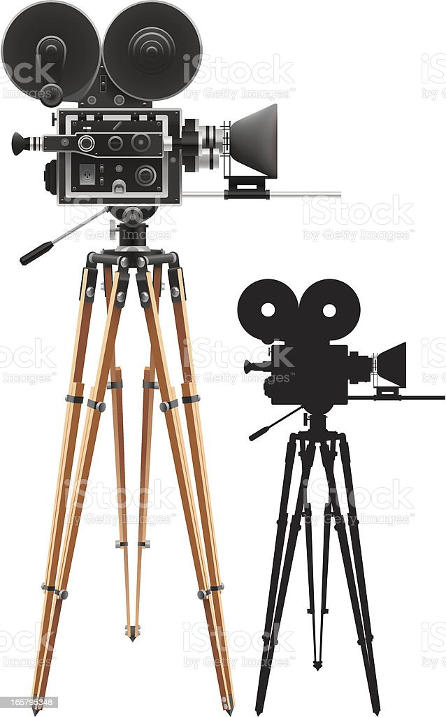 Film cameras set up for filming royalty-free stock vector art