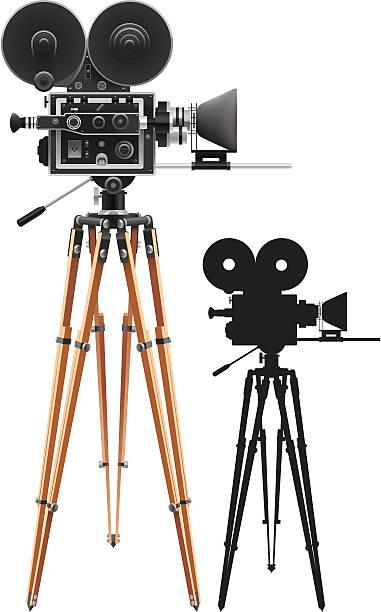 Film cameras set up for filming vector art illustration