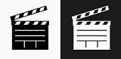 Film Clapper Board Icon on Black and White Vector Backgrounds