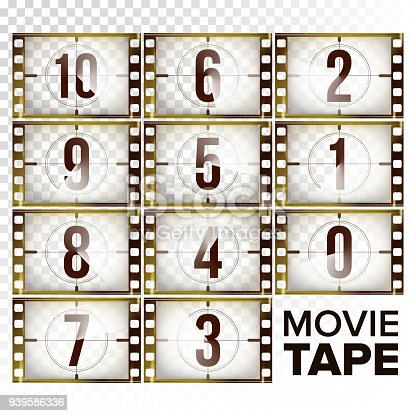 Film Countdown Numbers 10 - 0 Vector. Monochrome Brown Grunge Film Strip. Start Of The Old Film. Isolated On Transparent Background Illustration