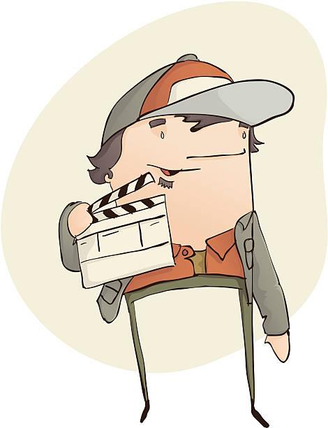 Film Director with Clapper Board vector art illustration