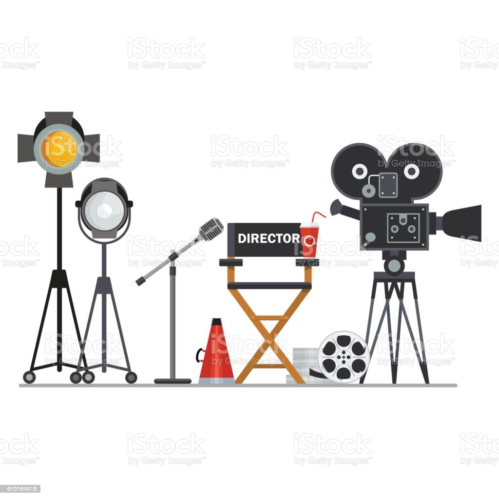 film director workplace vector art illustration