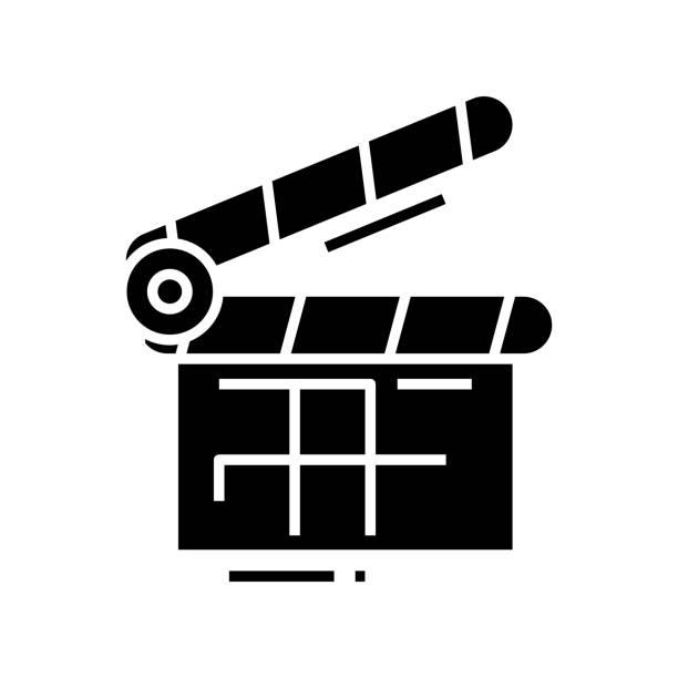 stockillustraties, clipart, cartoons en iconen met film dubbel zwart pictogram, conceptillustratie, vector vlak symbool, glyphteken - dubbelopname businessman