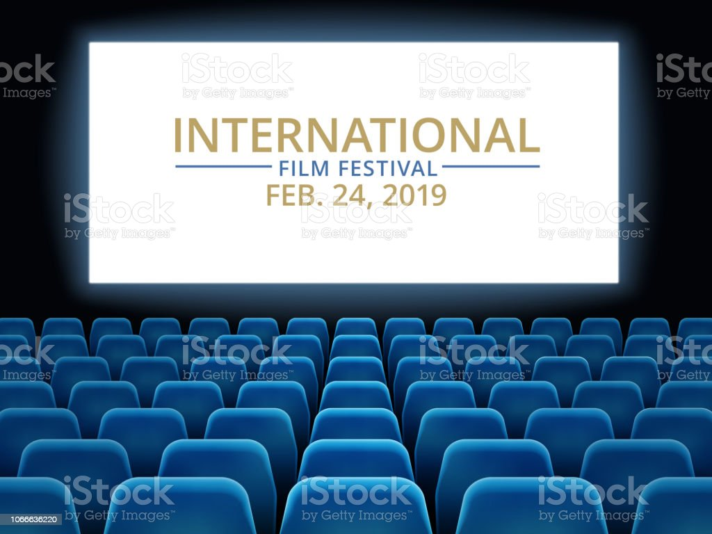 Film Festival Movie Theater Hall With White Screen Cinema International Festival Vector Background Stock Illustration Download Image Now Istock