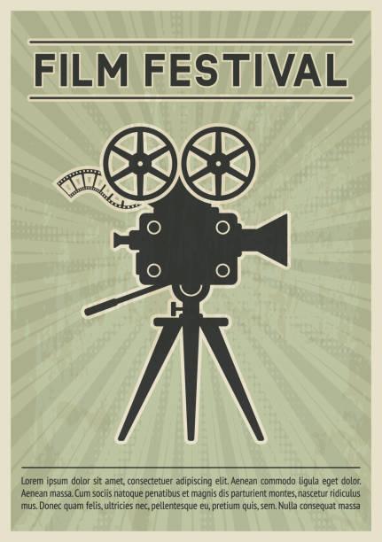 Film festival poster. Retro movie camera black silhouette Film festival poster. Retro movie camera black silhouette. Vector illustration switchboard operator vintage stock illustrations