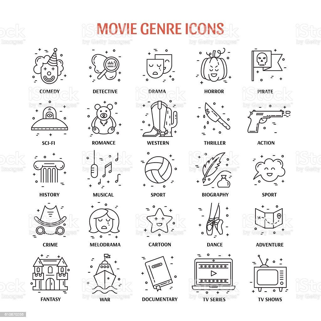 Film genre icon set vector art illustration