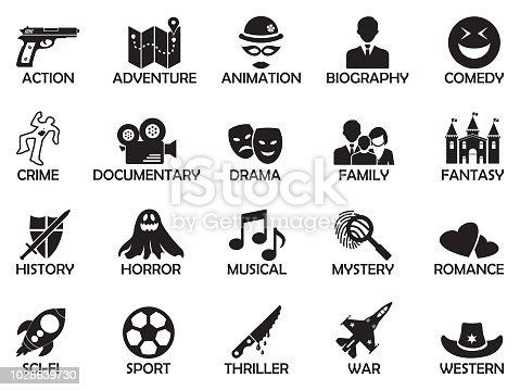 istock Film Genres Icons. Black Flat Design. Vector Illustration. 1028639730